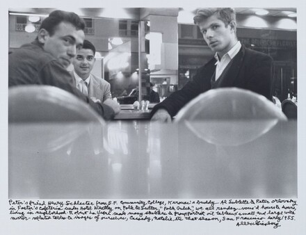 """Peter's friend Henry Schlacter from S.F. Community College, Kerouac's buddy Al Sublette & Peter Orlovsky in Foster's Cafeteria under Hotel Weatley on Polk & Sutter, """"Polk Gulch"""", we all rendez-vous'd hours & hours, living in neighborhood. Robert LaVigne made many sketches & group portrait oil tableaux small and large with mirror-reflected tables & visages of ourselves, Cassady, Natalie, etc. that season, San Francisco early 1955."""