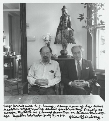 Self-Portrait with R.D. Lang, living room of his house, Mapleton Street; ending several years' visiting faculty at Naropa Institute. We planned departure on lecture tour voyage. Boulder, Colorado. July 7, 1987