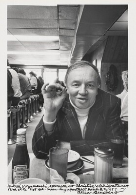 Andrei Voznesensky, afternoon at Christine's Polish restaurant 12'th St. and 1'st Ave. near my apartment March 29, 1987