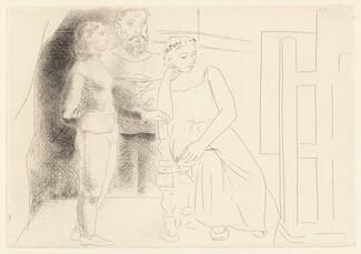 Peintre avec deux modèles regardant une toile (Painter with Two Models Looking at a Canvas)
