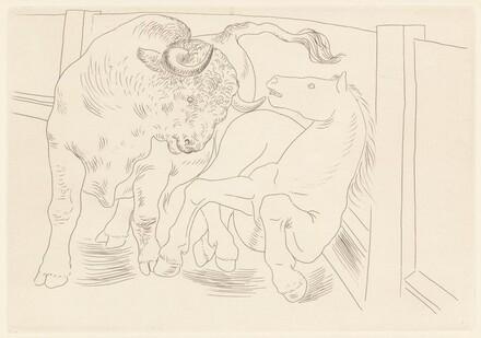 Taureau et cheval dans l'arène (Bull and Horse in the Arena)