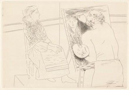 Peintre chauve devant son chevalet (Bald Painter at His Easel)