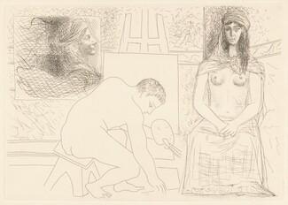 Peintre ramassant son pinceau, avec un modèle au turban (Painter Picking Up His Brush with a Model Wearing a Turban)