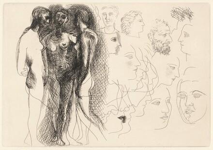Trois nus debout, avec esquisses de visages (Three Standing Nudes with Sketches of Faces)