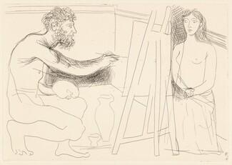 Peintre devant son chevalet avec un modèle aux longs cheveux (Painter at His Easel with a Model with Long Hair)
