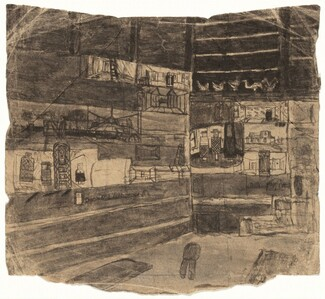 Untitled (Shed Interior with Pictures on Display) [verso]