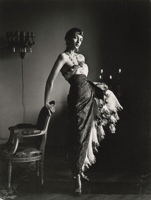 Countess Maxime de la Falaise in Schiaparelli gown, Paris