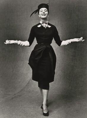 Paris Fashions, Bettina Graziani models Pierre Balmain dress