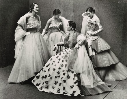 Paris Fashions, Bettina Graziani, Sophie Malgat, Jackie Stoloff, and Janine Klein Modeling Evening Gowns designed by Jacques Fath