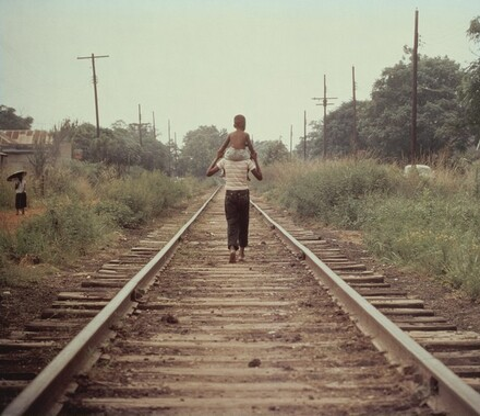 Two Boys on Railroad Track Outside Mobile, Alabama