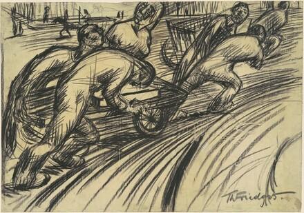 5 Workers with a Cart (5 Arbeiter mit einen Karren)