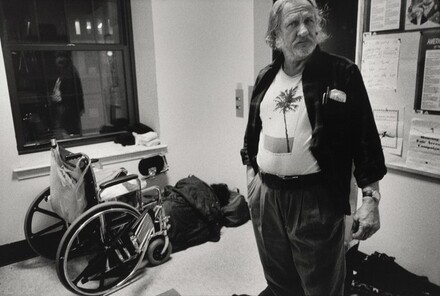 Boston (As the temperature drops, Linda and Gerald reluctantly spend the night at a shelter, rather than on the streets. This emergency facility, which will admit people who are drunk, is sometimes referred to on the street as the Nightmare Center or Fright Center. There are no beds, so guests must sleep on chairs or on the floor. Linda sleeps under her wheelchair because she worries that someone might steal it.)