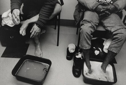 Boston (One way in which the staff at the Pine Street Inn tries to establish relationships of trust with their homeless clientele is by encouraging them to have foot soaks at the end of the day. Afterwards, they are given clean socks and, if necessary, new shoes. The nurses have often found that over a period of time, their guests relax enough during these sessions to tell them what is on their minds.)