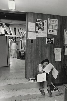 The Olive Branch is a dark, oppressive space, but it gets the message across to the women who stay there that the solutions to their problems are in their own hands. Ignoring distractions, Margie finishes her homework for job-training class. Olive Branch Mission, Chicago.