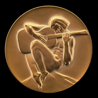 Mico Kaufman (designer), Medallic Art Company (manufacturer), Youth Playing a Guitar [obverse], 1973
