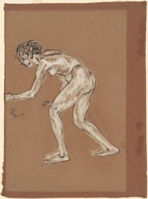 Apprehension (Crouching Female Nude Facing Left)