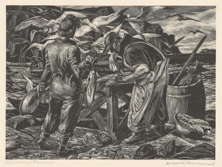 Girl, Gulls, and Fisherman