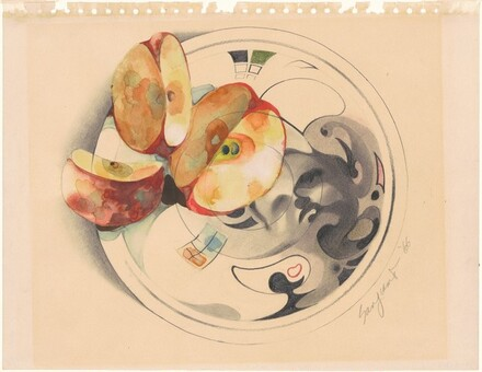 Still Life: Apples on a Plate with a Portrait Image of the Artist