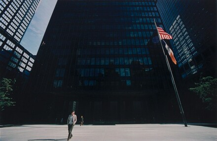Skyscraper with Person and Flagpole, New York