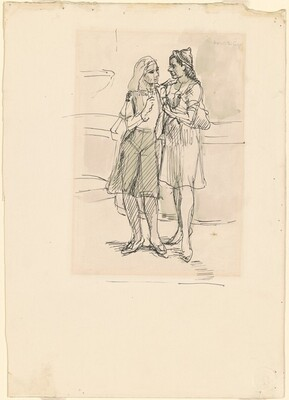 Study for Two Girls Outdoors [recto]