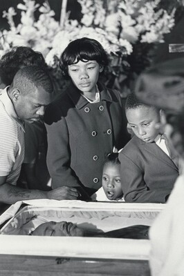 Dr. King's children view his body lying in state, Sister's Chapel, Spellman College, Atlanta