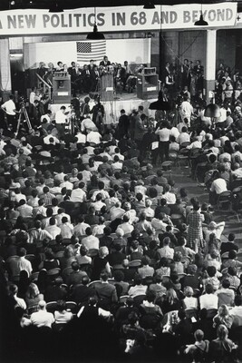 Dr. King addresses the New Politics Convention at the Chicago Coliseum