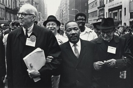 Dr. Benjamin Spock, Dr. Martin Luther King, Jr., and Monsignor Rice of Pittsburgh march in the Solidarity Day Parade at the United Nations Building