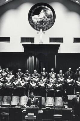 Dr. King at the pulpit of Ebenezer Baptist Church, Atlanta, addressing his congregation