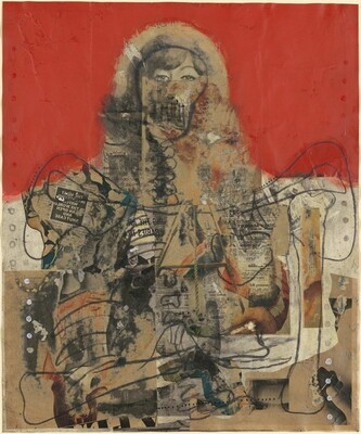 Untitled (Lady Skeleton on Red)