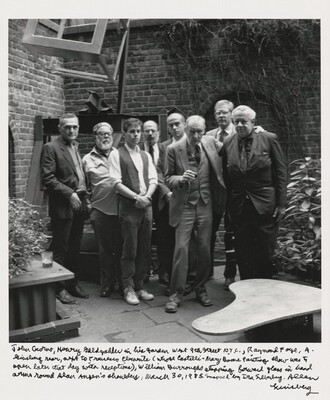 John Giorno, Henry Geldzahler, in his garden West 9th Street, N.Y.C., Raymond Foye, A. Ginsberg rear, next to Francesco Clemente  (whose Castelli - Mary Boone painting show was to open later that day with receptions), William Burroughs stepping forward glass in hand arms round Alan Ansen's shoulders, March 30, 1985. Snapped by Ira Silverberg. Allen Ginsberg