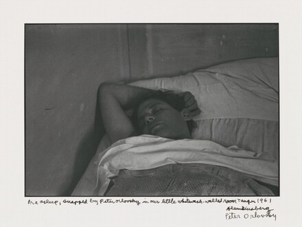 Me asleep, snapped by Peter Orlovsky in our little whitewash-walled room Tangier 1961