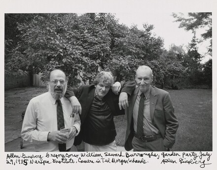 Allen Ginsberg Gregory Corso William Seward Burroughs, Garden Party July 29, 1985 Naropa Institute. Camera in Ted Morgan's hands