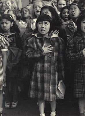 Children of the Weill public school shown in a flag pledge ceremony, San Francisco, California