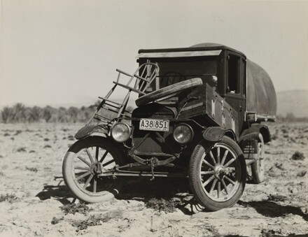 Texan refugees' car, they are seeking work in the carrot fields of the Coachella Valley, California