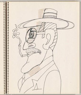 Self-Portrait in Profile, Smoking