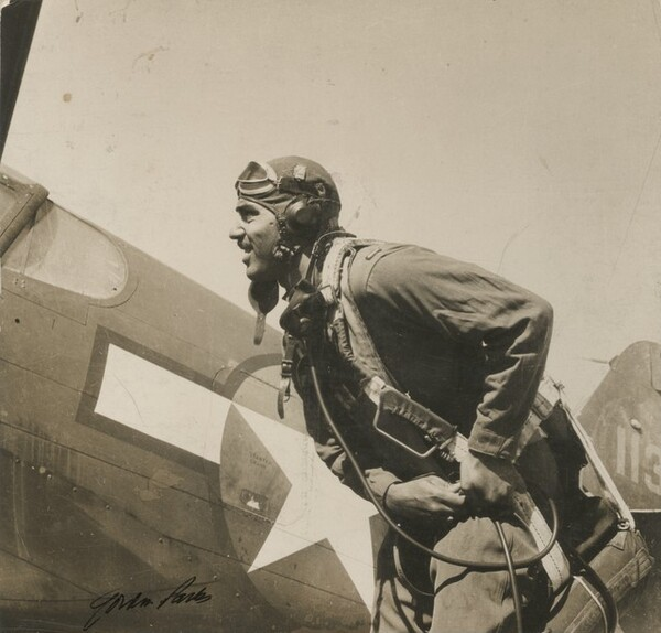 Lt. George Knox. 332nd Fighter Group training at Selfridge Field, Michigan (Fighters up! And good luck.)