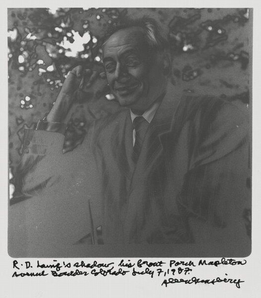 R.D. Laing's shadow, his front porch Mapleton around Boulder, Colorado. July 7, 1987.