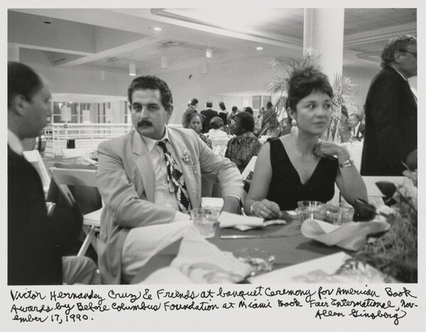 Victor Hernandez Cruz & friends at banquet ceremony for American Book Awards by Before Columbus Foundation at Miami Book Fair International, November 17, 1990.