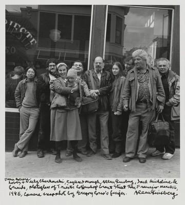 Jesse Cabrera Lover & Neeli Cherkovski, Kaye MacDonough, Allen Ginsberg, Jack Micheline & friends, plateglass of Trieste Coffeeshop Grant Street San Francisco March 16, 1985, Camera snapshot by Gregory Corso's finger.