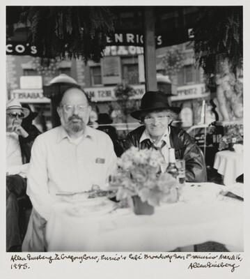 Allen Ginsberg & Gregory Corso, Enrico's Cafe Broadway San Francisco March 16, 1985.
