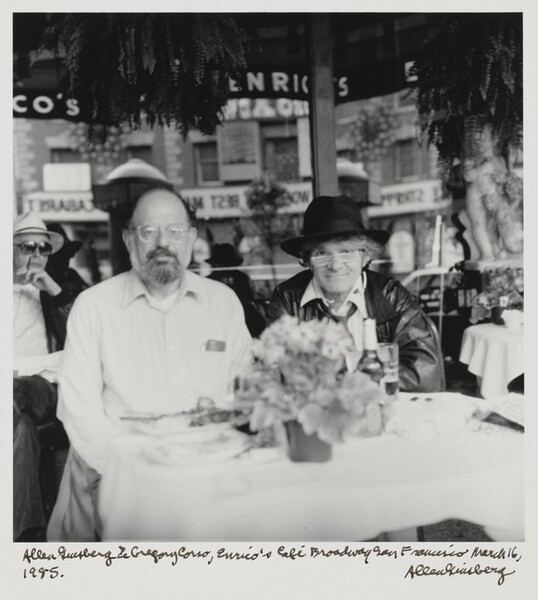 Allen Ginsberg & Gregory Corso, Enrico's Cafe Broadway San Francisco March 16, 1985.