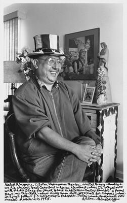 Gelek Rimpoche, Tibetan Vajrayana teacher, visited to say Goodbye at his student Yael Crawford's house, Cleveland, Ohio, I'd stayed over with Philip Glass for Jewel Heart Meditation Center benefit. A Friend gave me this cloth-sewn Uncle Sam hat, too small for Rimpoche's dome. He'd just gotten U.S.A. citizenship & passport. Dalai Lama enshrined over mantel. March 20, 1995.