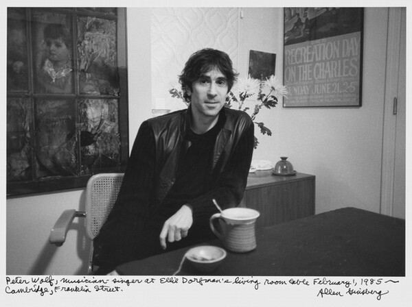 Peter Wolf, musician-singer at Ellie Dorfman's living room table February 1, 1985 -- Cambridge, Franklin Street.