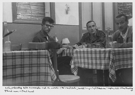 Peter Orlovsky Bill Burroughs and the inventor of the Marl Hole, Dutch Tony's Cafe Medina Tangier, 1957. Third man- Paul Lund.