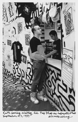 Keith Haring visiting his Pop Shop on Lafayette Street September 23, 1989.