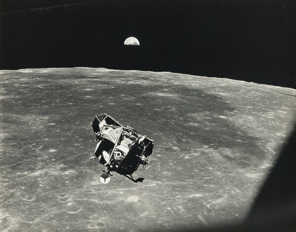 With Half Earth in Background, the Lunar Module Ascent...