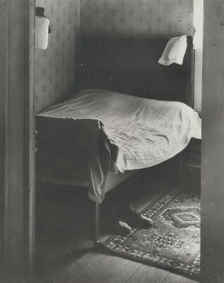 Bed, Shoes on Floor, Ed's Place near Norfolk, Nebraska
