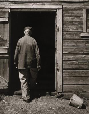 Uncle Harry entering Barn, outside Norfolk, Nebraska