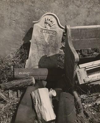Discarded Pew and Gravestones, Suburban Philadelphia, Pennsylvania