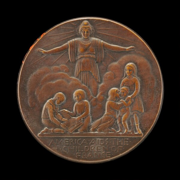 French Heroes Fund Medal: America Aids the Children of France [reverse]